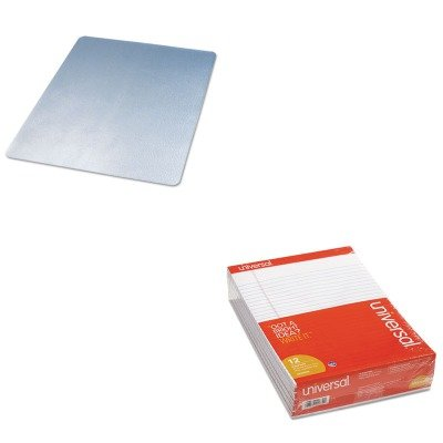 KITDEFCM21442FUNV20630 - Value Kit - Deflect-o EconoMat Hard Floor Chair Mat (DEFCM21442F) and Universal Perforated Edge Writing Pad (UNV20630) by Deflect-O