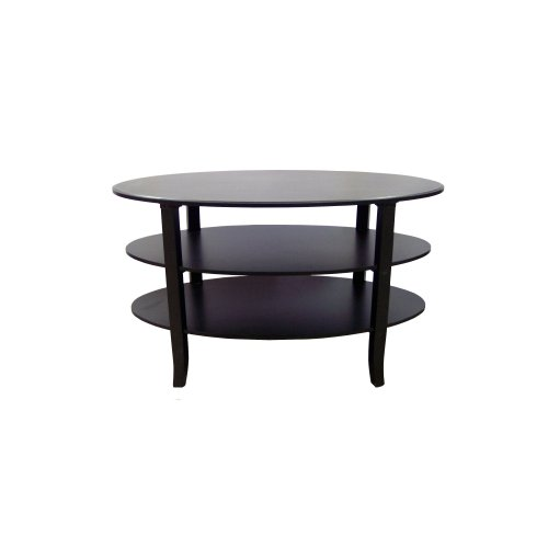 Target Marketing Systems London Collection 3 Tier Oval Coffee Table, Black (Black Oval Cocktail Table)