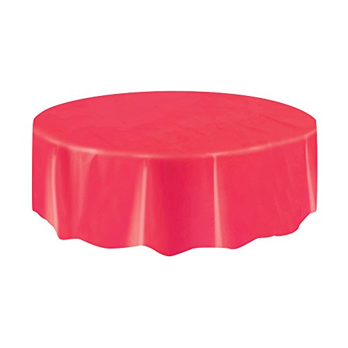 Round Red Plastic Tablecloth 84