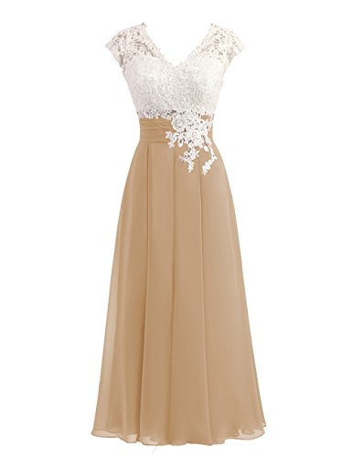 (Women's Ivory Lace Top Chiffon Button V-Neck Bridesmaid Dresses with Cap Sleeves Mother of The Bride Dresses (US10, Champagne))