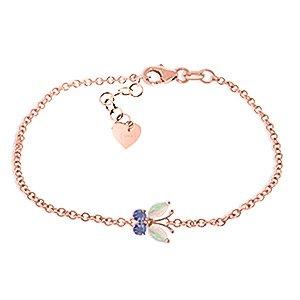 QP joailliers naturel Opale Tanzanite & Bracelet En Or Rose 9carats, 0,60ct Coupe Marquise-5028r