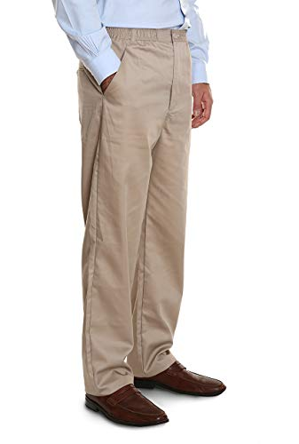 (Pembrook Men's Elastic Waist Casual Pants Twill Pants with Zipper and Button - XL - Tan)