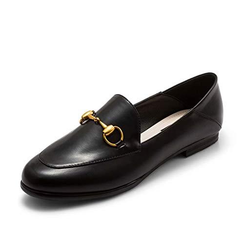 Ma À L'usure Simples Tête Pu Ronde Noirs Élégantes Plates Occasionnelles Pédale Doux Femmes Vamp Résistant Talon Mocassins Boucle 39eu Chaussures Rue Paresseuses Épaisse Aq34ScR5jL