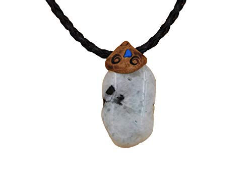 Smoky Quartz Moonstone Crystals and Healing Stone Necklace, Surfers Necklace, Hand Made Art Unisex Gift.