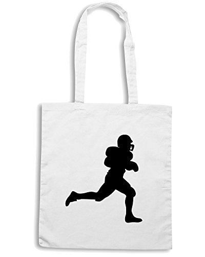 T-Shirtshock - Borsa Shopping SP0004 American Football Rugby Player Maglietta Bianco