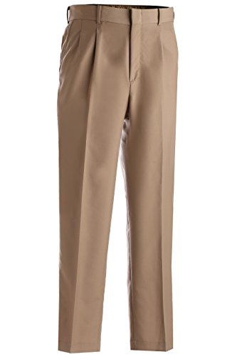 Ed Garments Men's Lightweight Washable Pleated Dress Pant, TAUPE,40 36 -