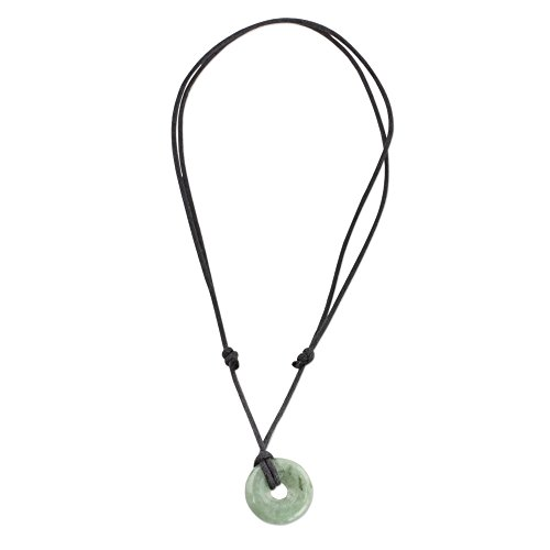 NOVICA Light Green Natural Jade Pendant Adjustable Length Necklace, 13.5