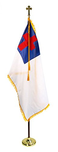 US Flag Factory 8' Christian Flag Indoor Set with Wood Pole - Complete Presentation Set by US Flag Factory