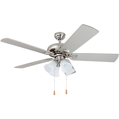 Prominence Home 50591-01 Lanie Traditional Ceiling Fan, 52″, Chilled Gray/Chocolate Maple, Brushed Nickel