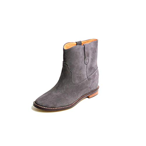 DETAIWIN Women's Flat Boots British Wind Faux Leather Martin Boots Vintage Casual Walking Slip On Warm Boots