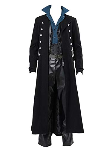 Makkrom Mens Steampunk Tailcoat Jacket Gothic Victorian Ankle Long Frock Coat Uniform Halloween Costume Black (Johnny Depp Steampunk)
