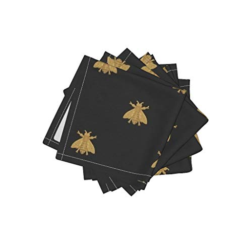 Roostery Bees Organic Cotton Sateen Cloth Cocktail Napkins Bees Home Decor Napoleon Bee Gilt Black Antique Gold Honeybees Modern Home Decor by Peacoquettedesigns Set of 4: 10 x 10in