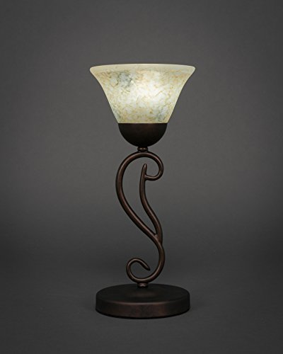 (Toltec Lighting 44-BRZ-508 Olde Iron Two-Bulb Mini Table Lamp Bronze Finish with Italian Marble Glass,)