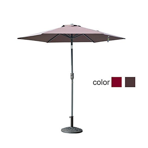 Caymus 8 Ft Market Outdoor Table Patio Umbrella with Push Button Tilt and Crank,6 Ribs,Coffee Brown