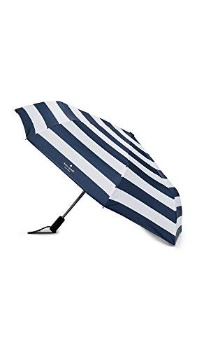 Kate Spade New York Women's Ubilee Stripe Travel Umbrella, Navy, No No Size