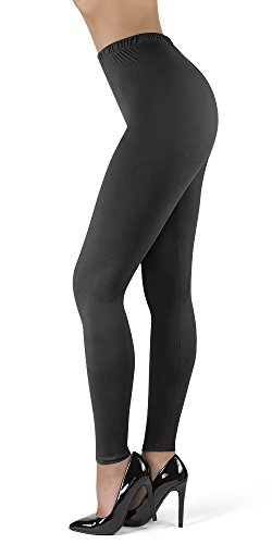 Satina High Waisted Leggings for Women | New Full Length w/Stretch Waistband | Ultra Soft Opaque Non See Through (OneSize, Charcoal)