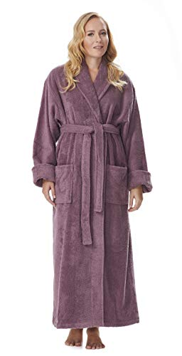 - Arus Women's Optimal Style Full Length Thick Shawl Collar Turkish Bathrobe Plum S/M