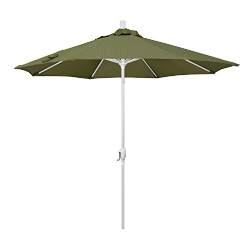 - California Umbrella 9' Round Aluminum Market Umbrella, Crank Lift, Push Button Tilt, White Pole, Terrace Fern Olefin