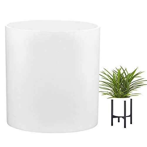 FaithLand Plant Pot 10 inch - Perfectly Fits Mid-Century Modern Plant Stand - Drainage Plug - Matte White Planter Pot