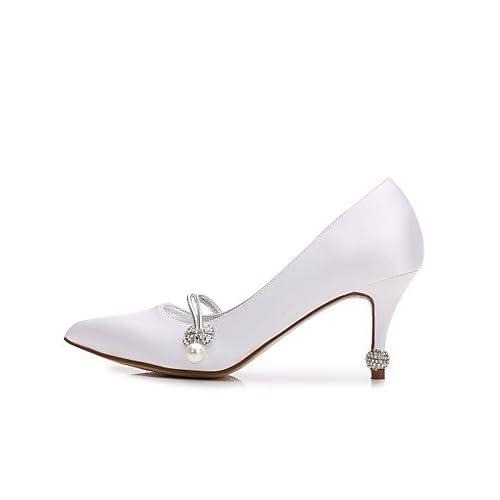SHUAI shoes El mejor regalo para mujer y madre Mujer Zapatos Satén  Primavera Verano Confort Pump Básico e02ec85bf5b