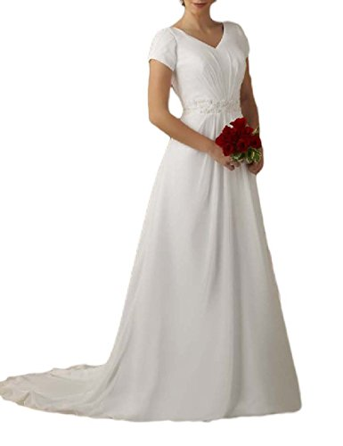 OYISHA Women's A-Line Chiffon Train Wedding Bridal Dresses with Short Sleeves White 6