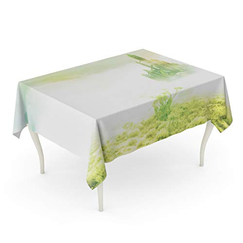 Semtomn Decorative Tablecloth Waterproof Printed Polyester Water Resistant Oil-Proof Yellow Wizard Emerald City in Mist Green Road Brick Rectangle Table Cloth 60 x 84 Inch