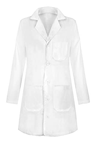 G Med Women's Solid Button Up Lab Coat with Pockets (Sizes XS-3XL)(OW-MED,WHTLONG-XL) - Topaz Button