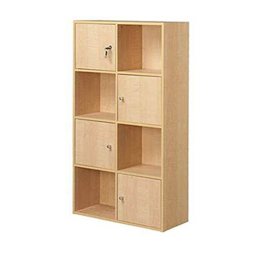 Maple Cabinet Room Living - Jcnfa-Shelves Bookcase Door with Lock Cabinet Wood Book Shelf Organizer Storage DIY Cabinet Shelves Bedroom Office Living Room (Color : Maple Color, Size : 23.629.3741.73in)