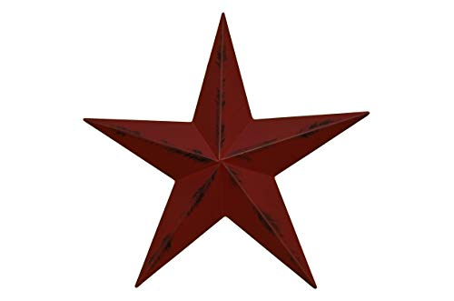 AMISH WARES 10 Inch Heavy Duty Metal Barn Star Painted Rustic Cranberry. ()