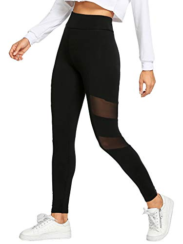 Skinny Tights - SweatyRocks Women's Stretchy Skinny Sheer Mesh Insert Workout Leggings Yoga Tights Black #10 M
