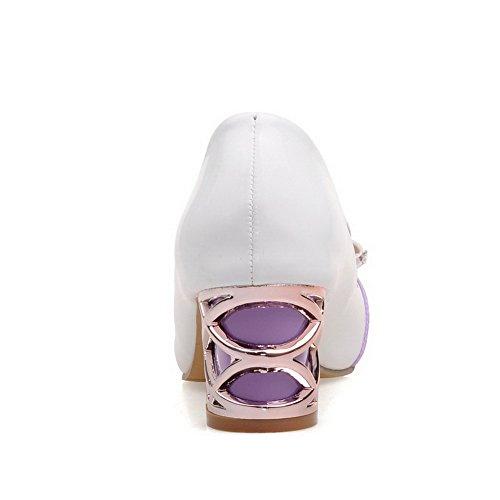 VogueZone009 Women's Round Closed Toe Kitten-Heels PU Pull-on Pumps-Shoes Purple wDUHtZ