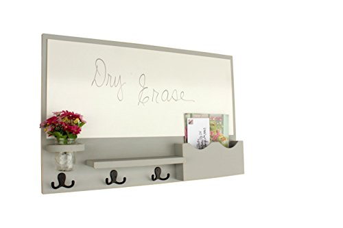 Deluxe Slot Mail - Legacy Studio Decor Deluxe White Board with Large Mail Slot and Mason Jar (Distressed, Gray)
