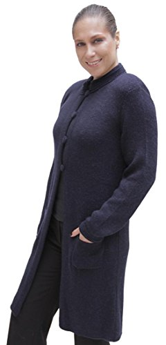 Women's Soft Alpaca Wool Four-Button Knitted Cardigan Long Coat Sweater (XL, Navy Blue)