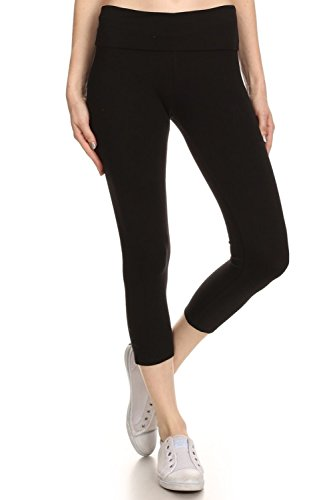 Fold Over Fitness Pant - RouA CL004 Fold Over Waistband Cotton Capris Yoga Pants for Women [Black][2X Large]