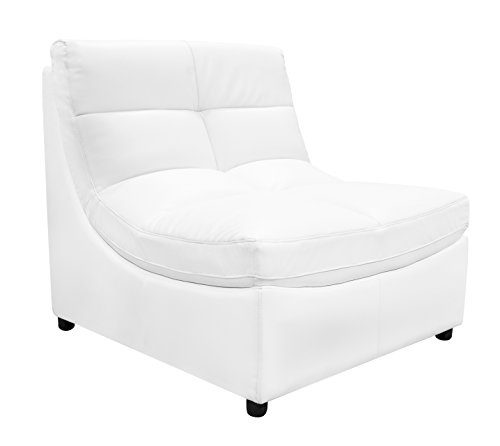 New White Sectional Sofa Set Couch Bonded Leather Armless Chairs Corners Ottoman Couch Comfort Modern Living Room Furniture