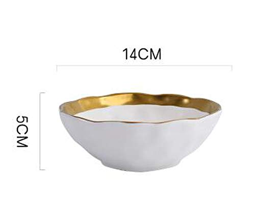 Dinnerware Collection Ceramic Plate And Bowl With Gold Tableware White And Black Dinner Set,E (Creamware Collection)