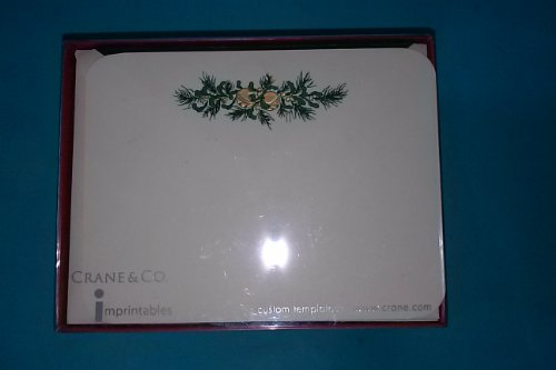 Crane & Co HC6717A Hand Engraved Imprintable Cards 10 Notes 10 Envelopes 4 5/8'' x 6 1/8'' 100% Cotton Paper Bells & Evergreen by Crane & Co.