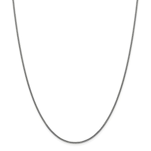 14k White Gold 1.5mm Round Link Box Chain Necklace 20 Inch P