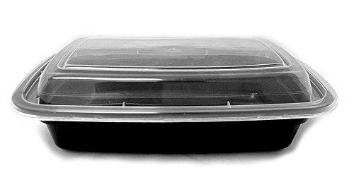 Tristone 24 oz. Black Rectangular Microwaveable Food Take...