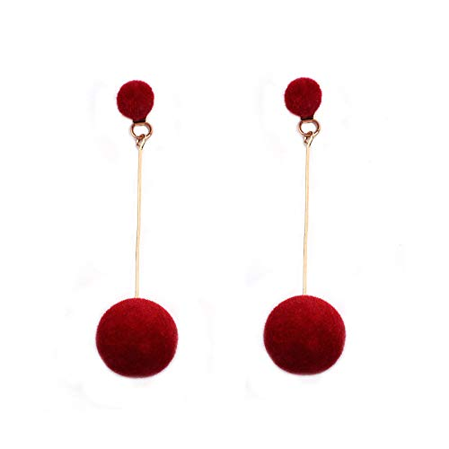 Gahrchian Long Earings Long Dangle Earings Double-faced Earings Plush Ball Tassel Earings Women Wedding Bridal Jewelry (Cherry Red)