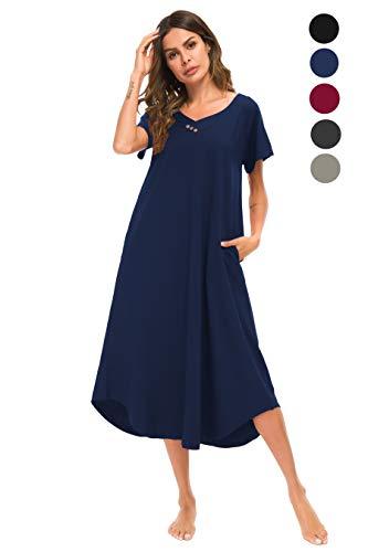 YOZLY Sleepwear Womens Cotton Nightdress Short Sleeve Nightgowns Knit Sleepshirts S-XXL(Navy Blue, XXL)