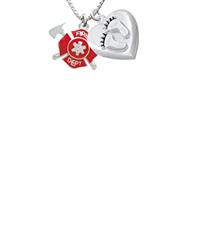 Delight Jewelry Red Fire Department Shield with Axes Custom Engraved Baby Feet Heart Locket Necklace