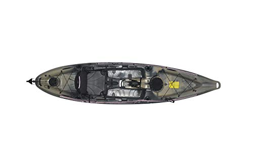 Riot Kayaks Mako 12 Angler Impulse Drive Deluxe Sot Fishing Kayak, Camo, Black/Gray, 12′
