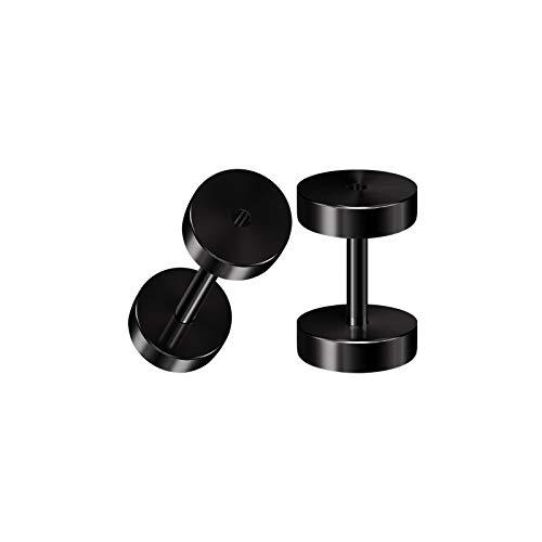 BIG GAUGES Pair of Surgical Steel 16g Gauge 1.2mm Black Anodized Screw Flesh Tunnels Piercing Ear Stretcher Earring Plugs Lobe BG3791 ()