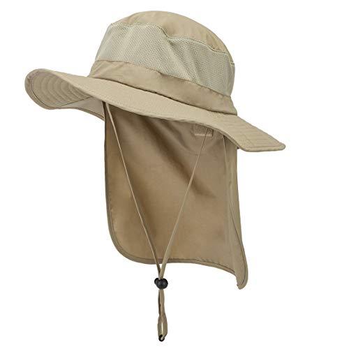 Lenikis Hiking hat Fishing Accessories Sun Protection Hats for Men Khaki