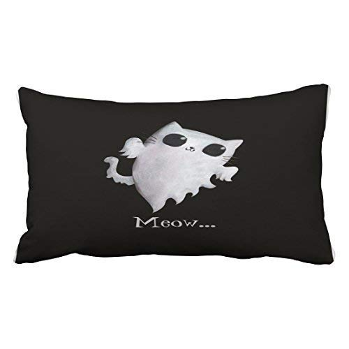 Uiowsbe Custom Halloween Cute Ghost Cat Throw Pillow Covers Cushion Cover Case 20X30 Inches Pillowcases Two Side ()