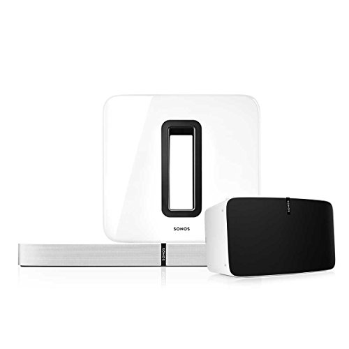 Sonos Multi-Room Digital Music Package with PLAY:5, PLAYBASE, and SUB Wireless Subwoofer (White)