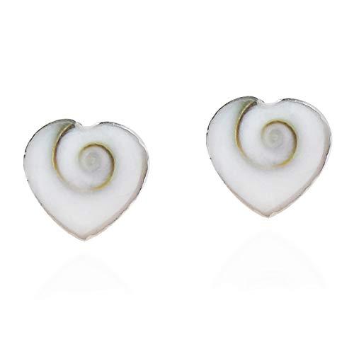 Heart Swirl Shiva Shell .925 Sterling Silver Stud Earrings