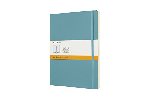 Moleskine Classic Notebook, Extra Large, Ruled, Blue Reef, Soft Cover (7.5 x 9.75)