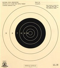25 Yard Slow Fire Pistol Target Official NRA Target B-16 (100x)